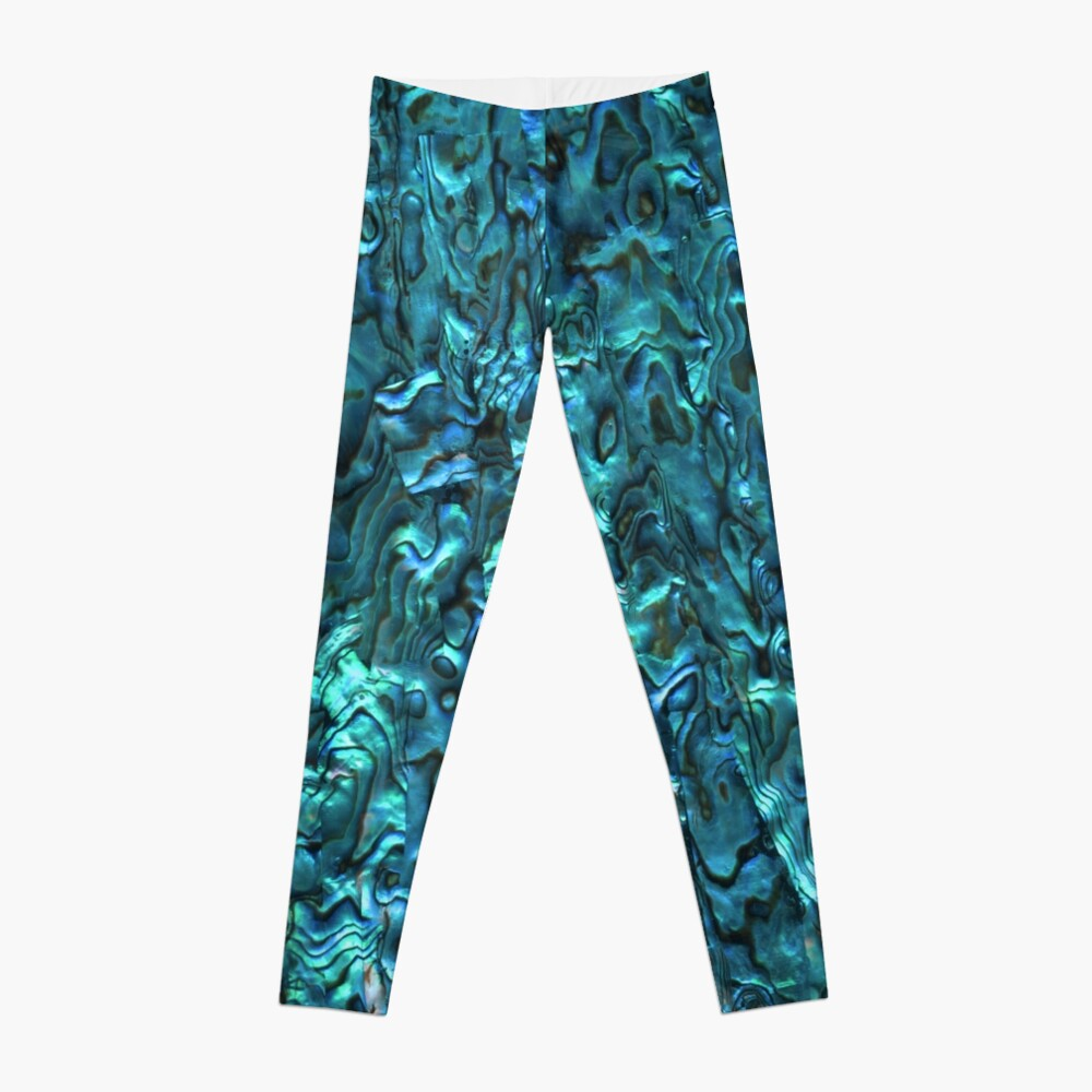 Abalone Shell | Paua Shell | Seashell Patterns | Sea Shells | Cyan Blue Tint |  Leggings
