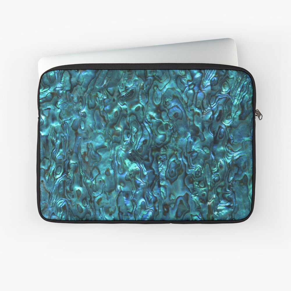 Abalone Shell | Paua Shell | Seashell Patterns | Sea Shells | Cyan Blue Tint |  Laptop Sleeve