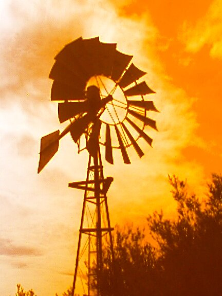 windmill at dusk by wozza
