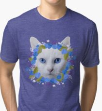 Beautiful Cat Blue Eyes Floral Tri-blend T-Shirt
