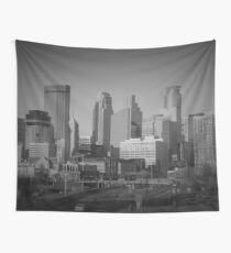 Minneapolis Black And White Skyline  Wall Tapestry