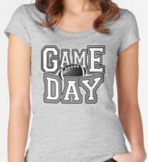 Game Day Football Fan Celebration Fanatic Party T-shirt Women's Fitted Scoop T-Shirt
