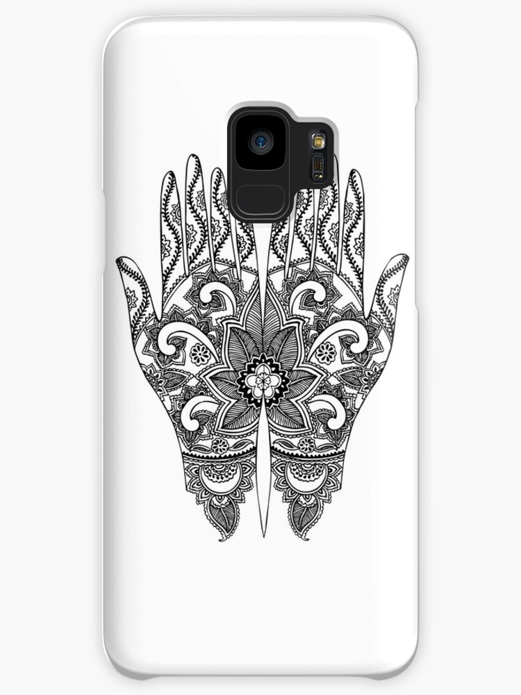 Mehndi Tattoo Hands Black And White Cases Skins For Samsung