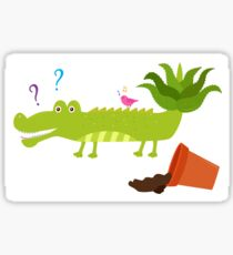 Cute crocodile with aloe vera on its tail Sticker