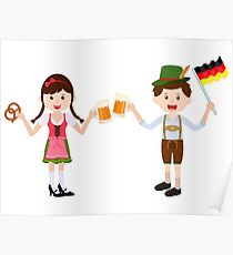 Oktoberfest festival with cute girl and boy Poster