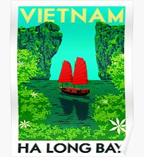 """VIETNAM"" Vintage Ha Long Bay Travel Print Poster"