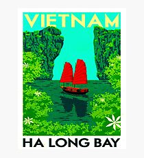 """VIETNAM"" Vintage Ha Long Bay Travel Print Photographic Print"