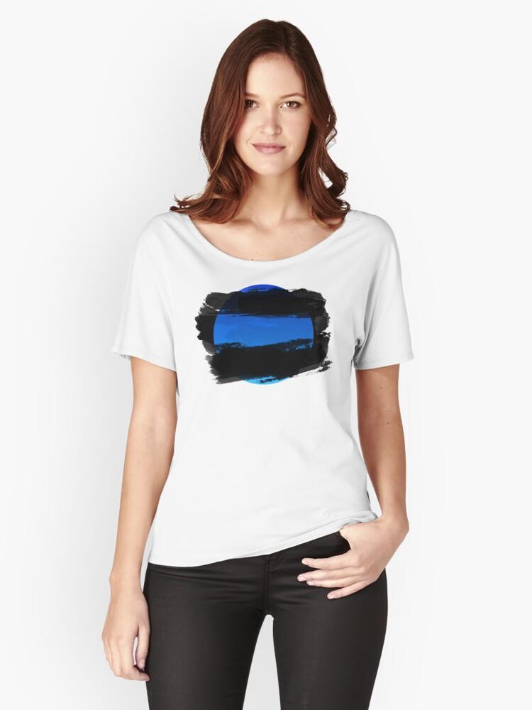 Blue Moon Clouds Sunset Dusk Till Dawn Women's Relaxed Fit T-Shirt Front