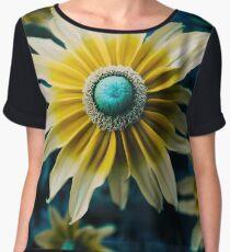 Yellow Whimsical Flowers Women's Chiffon Top