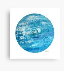 Acrylic Pour with cells 91317 ocean colors Canvas Print