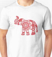 Mandala Elephant Red Unisex T-Shirt