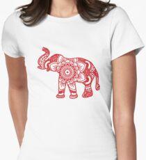 Mandala Elephant Red Womens Fitted T-Shirt