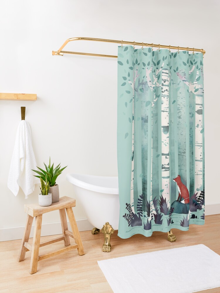 Alternate view of The Birches Shower Curtain