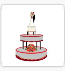 A Wedding Cake in Red and Black tones Sticker