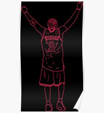 Allen Iverson Back-To Neon Poster
