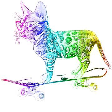 Rainbow Skateboard Cat by robotface