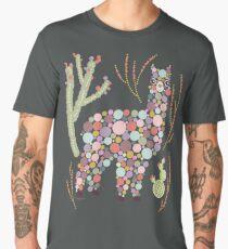 Cute Alpaca Pretty Colorful Dots Circles Bubbles Cactus Desert Graphic Design Men's Premium T-Shirt