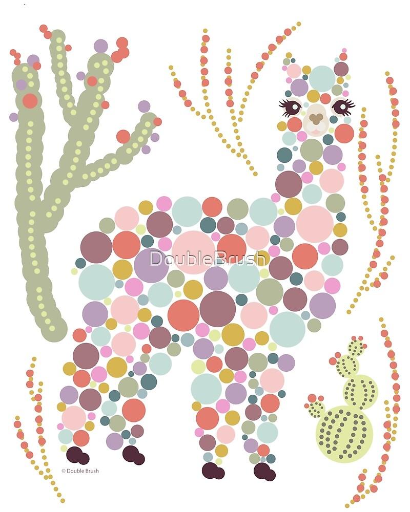 Cute Alpaca Pretty Colorful Dots Circles Bubbles Cactus Desert Graphic Design by DoubleBrush