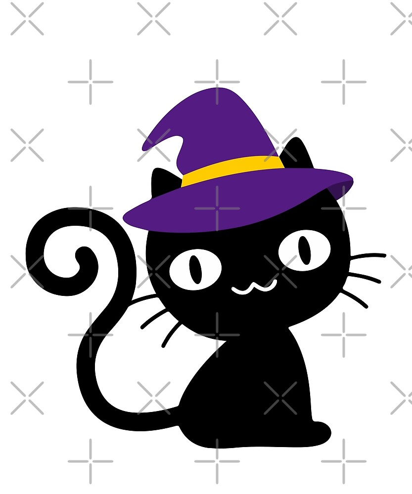 Funny Black Cat Witch Hat Halloween Kitty Lover Tee by JapaneseInkArt