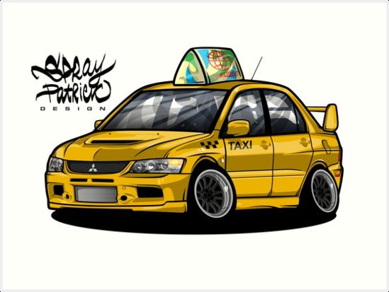 meet c0394 616e4 'Mitsubishi Lancer Evolution TAXI Edition' Art Print by SprayPatrick