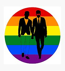 Two guys holding hands rainbow - from Bent Sentiments Photographic Print