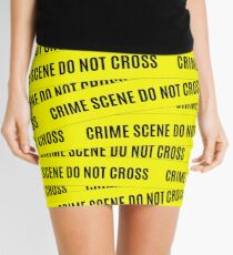 Crime Scene Tape Pattern Mini Skirt