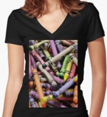 Crayons and Depth of Field Yum Women's Fitted V-Neck T-Shirt