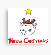 Meow Christmas cute reindeer Canvas Print