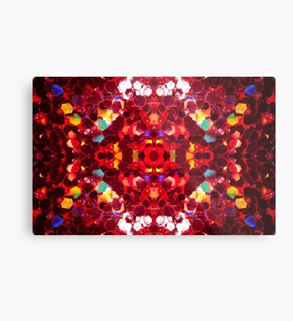 Red abstract mosaic shiny glitter pattern Mandala Metal Print