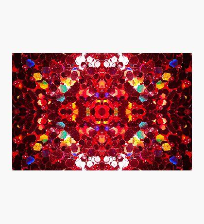 Red abstract mosaic shiny glitter pattern Mandala Photographic Print