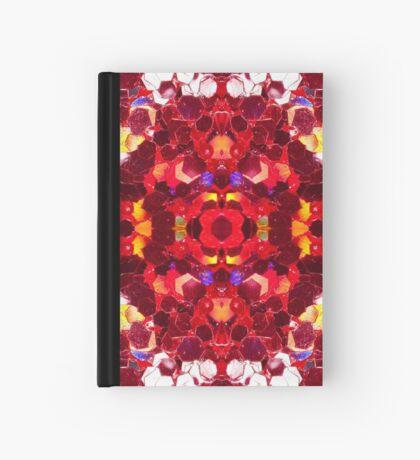Red abstract mosaic shiny glitter pattern Mandala Hardcover Journal