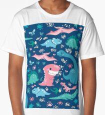 Dino Cutie Pattern in Blue Long T-Shirt
