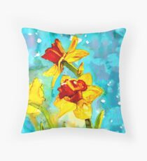 Daffodils in spring - painting in alcohol inks Throw Pillow
