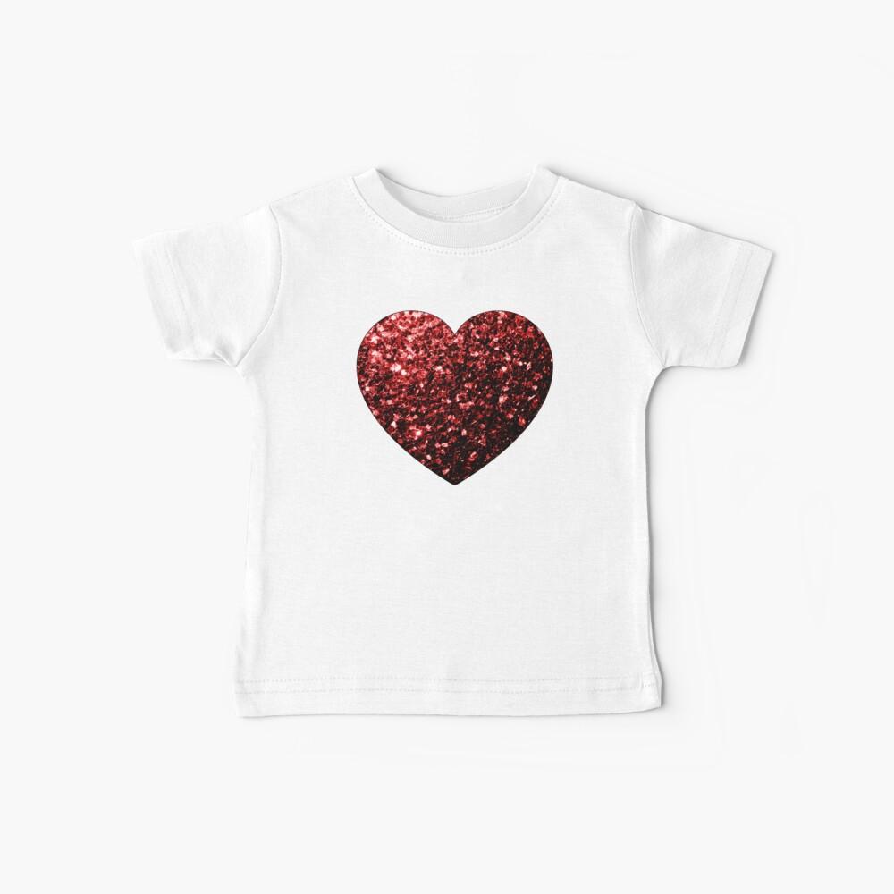 Glamour hermoso brillo rojo brilla Camiseta para bebés