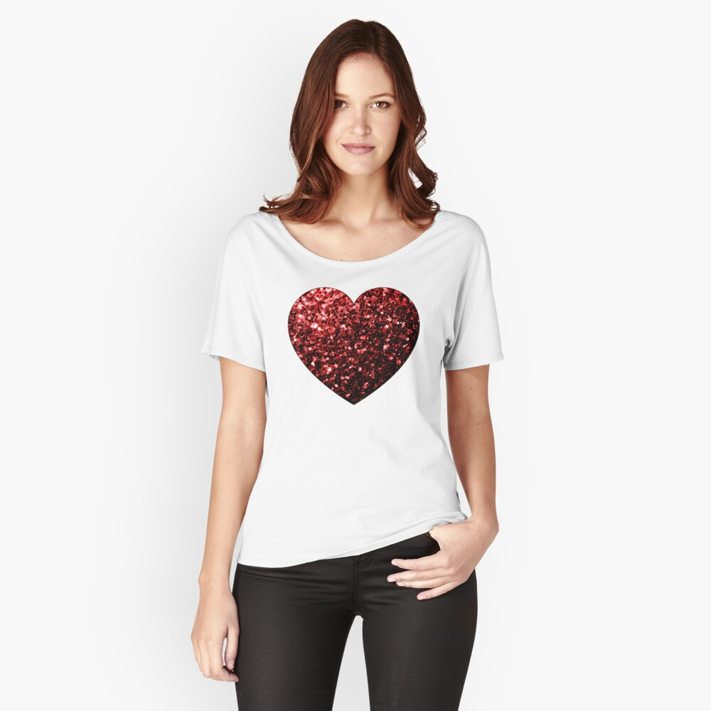 Glamour hermoso brillo rojo brilla Camiseta ancha