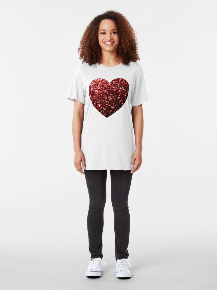 Vista alternativa de Camiseta ajustada Glamour hermoso brillo rojo brilla