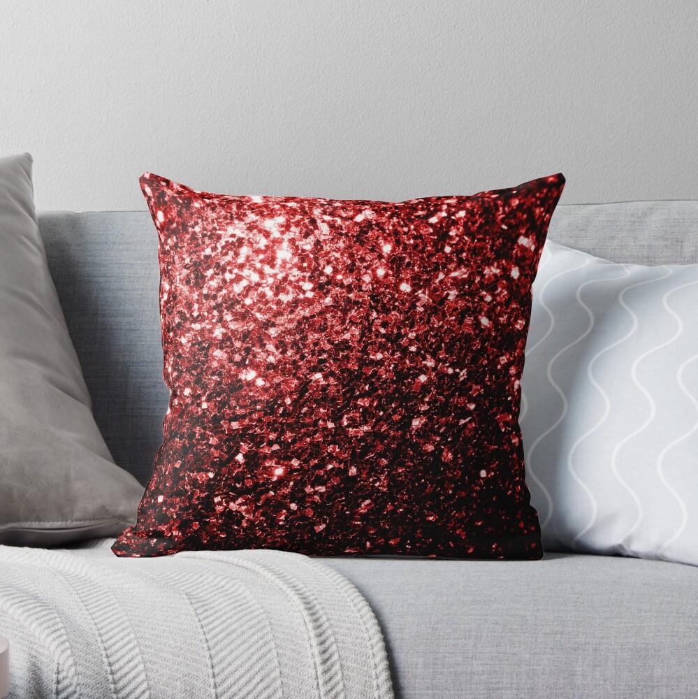 Glamour hermoso brillo rojo brilla Cojín