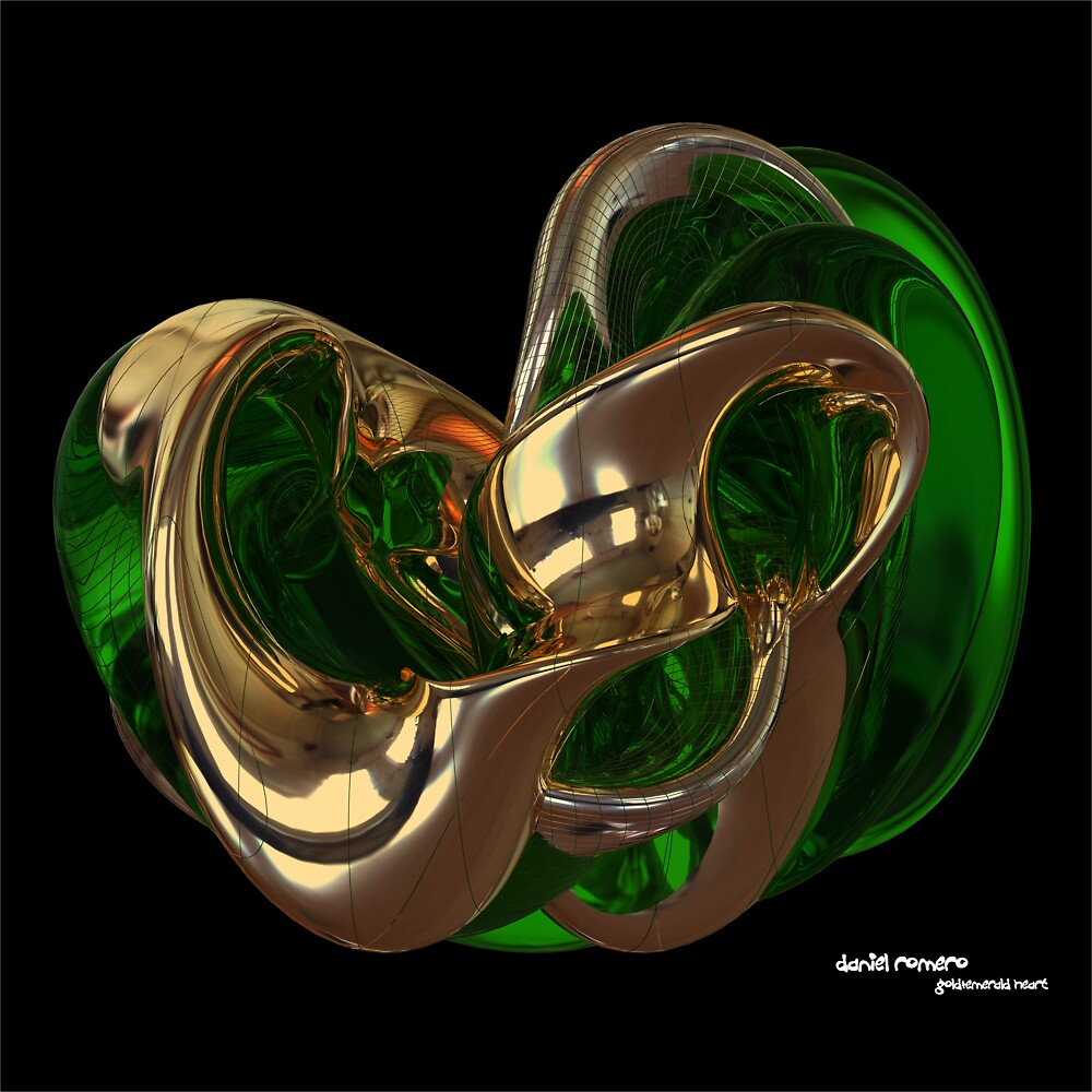 Gold & Emerald Heart by Daniel Romero