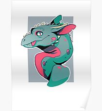BLEP derpy dragon in turquoise, black and pink Poster