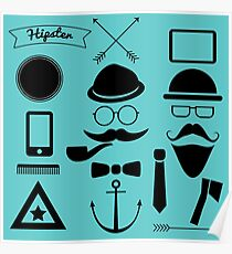 Hipster Shapes Monochrome Pattern Poster