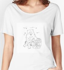 Wild bear sitting on wood log honey barrel flying bees Women's Relaxed Fit T-Shirt