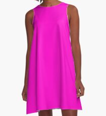 Bright Neon Fluorescent Pink | Solid Colour A-Line Dress