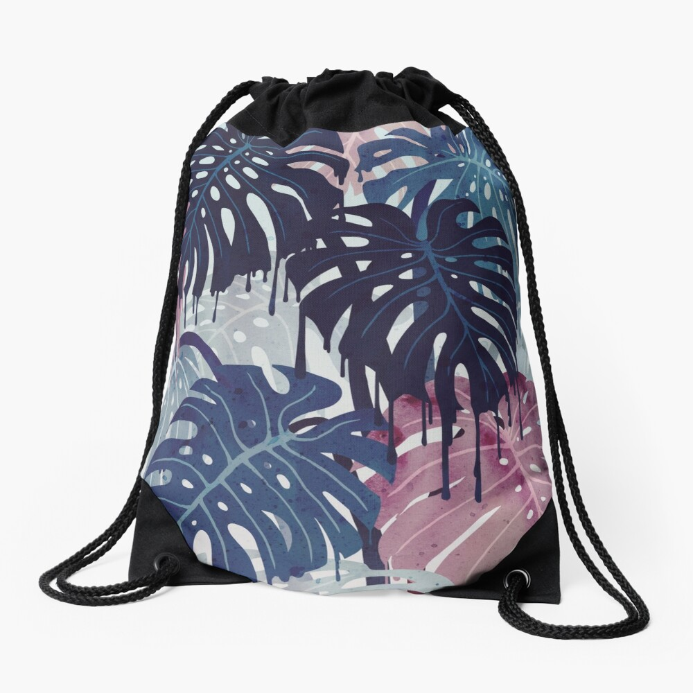 Monstera Melt Drawstring Bag