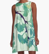 O Ginkgo (in Grün) A-Linien Kleid