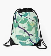 O Ginkgo (in Green) Drawstring Bag