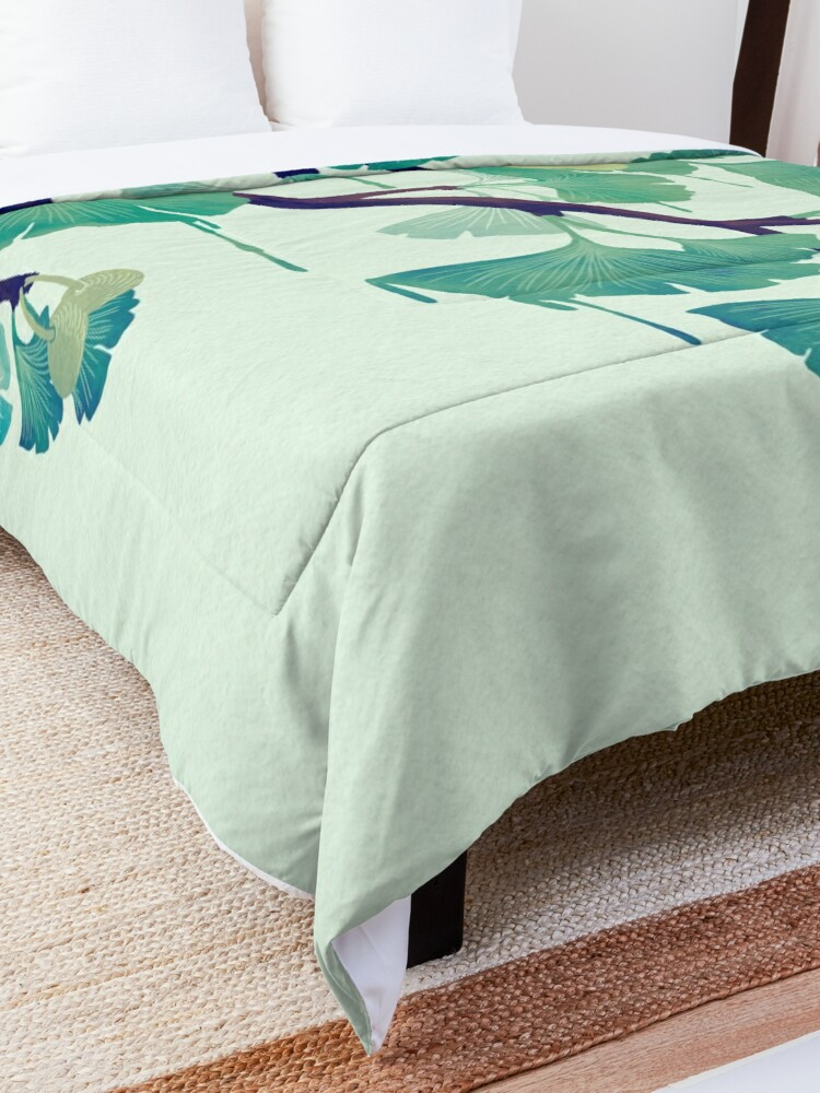 Alternate view of O Ginkgo (in Green) Comforter