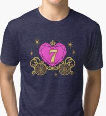 7th Birthday Carriage Princess Diamond Heart Seven Tri-blend T-Shirt