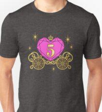 5th Birthday Carriage Princess T-Shirt Diamond Heart Five Unisex T-Shirt