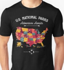 National Park Map Vintage T Shirt - All 59 National Parks T-Shirt