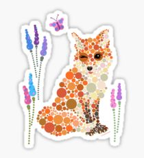 Fox Graphic Design Wildflowers Colorful Circles Bubbles Dots   Sticker